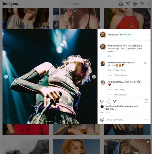 Millie Turner's Manchester Albert Hall gig on her Instagram page