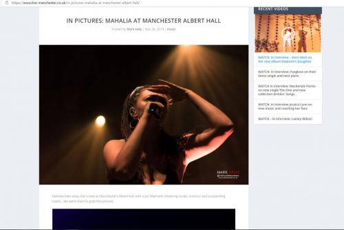 Mahalia live at Manchester Albert Hall featured on Live-Manchester