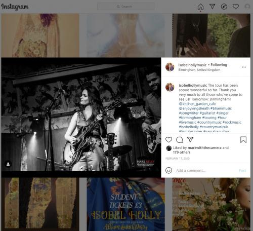 Isobel Holly live at the Deaf Institute featured on her Instagram page