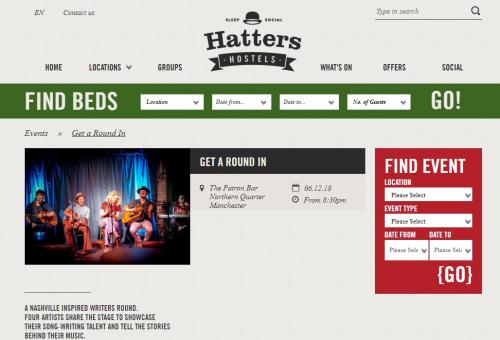 Get A Round In - featured on Hatters events page