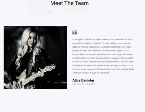 Alice Banister on Hope Valley Records website